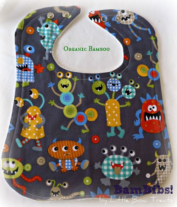 Bamboo Baby Infant Toddler Bib Handmade Quality by LittleBowTreats, $9.50 Monsters Aliens Grey