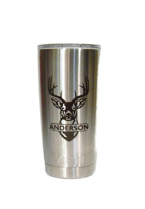 Yeti rambler decal yeti decal deer head decal name vinyl decal hunting decal for yeti laptop cup tumblers window hunting sticker