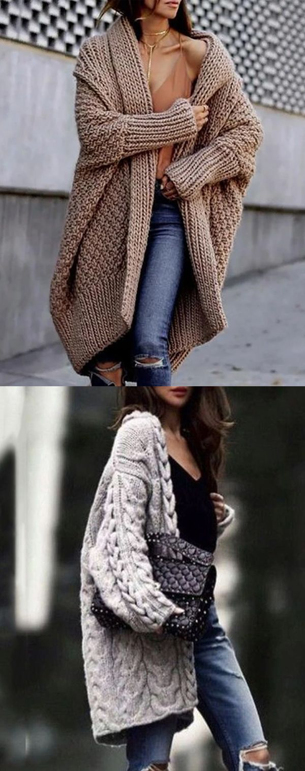 Mode reine Farbe Langarm Pullover #Cardigans #Sweaters #WinterCardigans