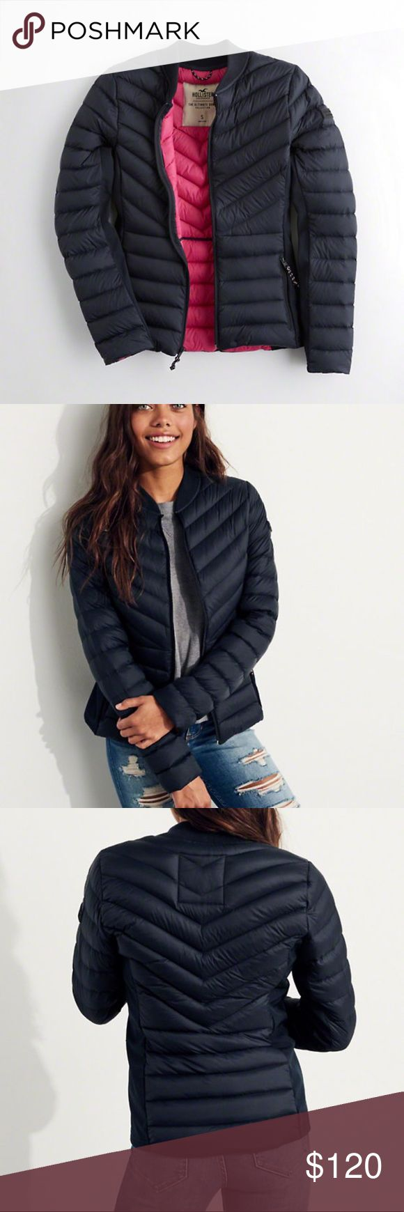 Hollister Puffer Jacket A lightweight, but warm puffer jacket made with water and wind resistant nylon fabric, featuring 90/10 down/feather fill, 700 fill power, a ribbed collar, side zip pockets and smooth, stretch side panels, Imported. Like new no flaws only worn a couple of times ❣️❣️❣️❣️ Hollister Jackets & Coats Puffers