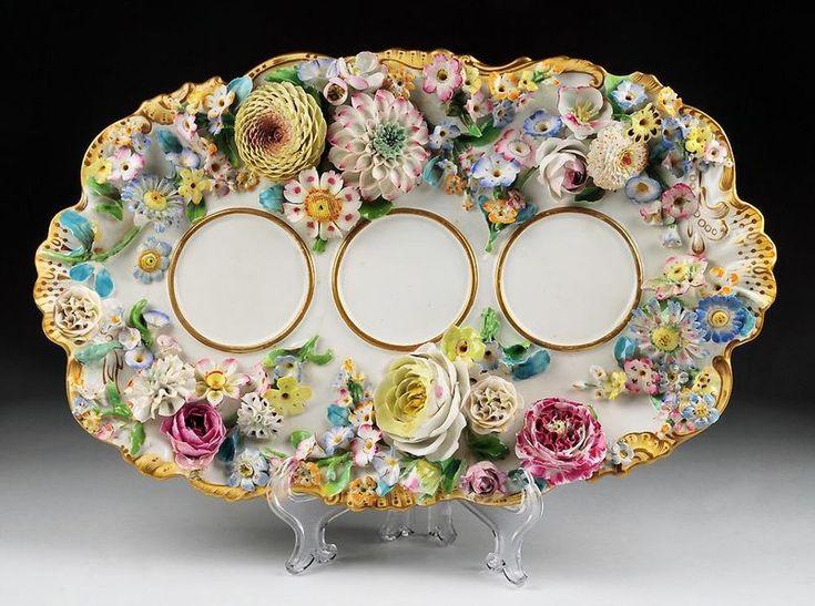 Coalport Porcelain,Shropshire (England) —   Flower Encrusted Inkstand  (800×595)