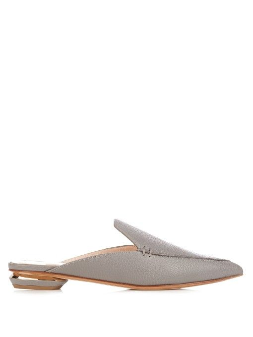 NICHOLAS KIRKWOOD Beya grained-leather backless loafers. #nicholaskirkwood #shoes #flats