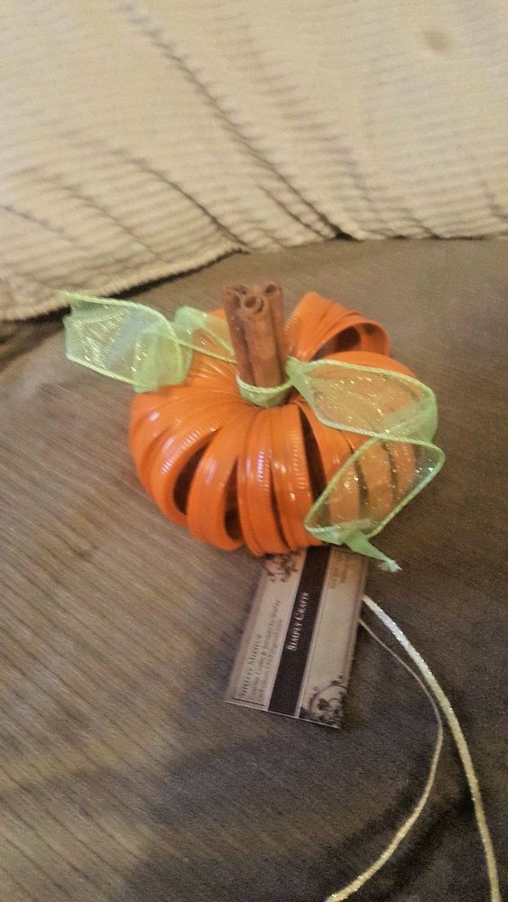Custom Halloween Orange Pumpkin Up-cycled Mason Rings Cinnamon Table Safe Decor #Unbranded