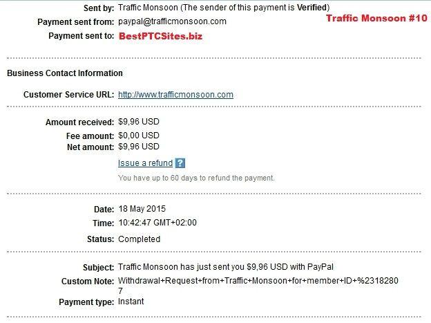 Traffic Monsoon Payment No10 http://bestptcsites.biz/