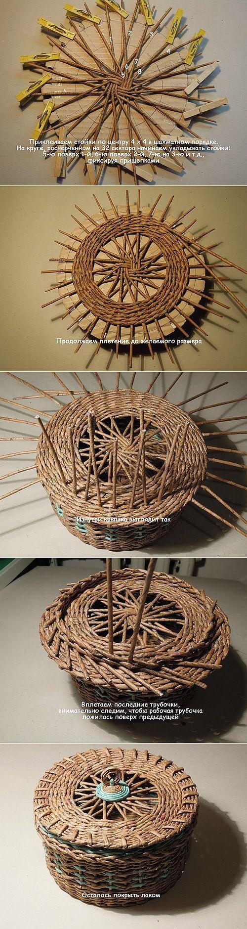 Урок плетения крышки для корзиночки -