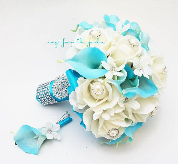 Blu & Bianco Bouquet sposa Rose Calla Lilies di SongsFromTheGarden