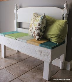 reclaimed wood headboard bench with storage http://bec4-beyondthepicketfence.blogspot.com/2014/08/bench-with-storage-beyond-picket-fence.html