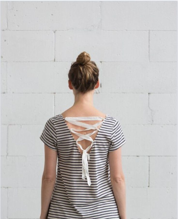 the laced up tee cotton and linen blend stripe jersey with linen ribbon $129.00