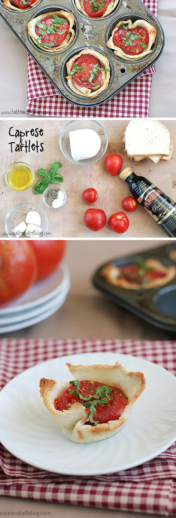 Caprese Tartlets - Mini tartlets filled with seasoned cream cheese, fresh mozzarella, tomato and topped with basil. The perfect end of summer appetizer or side dish!