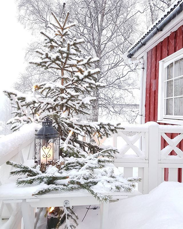 The snow which has settled on these house makes it feel more beautiful.