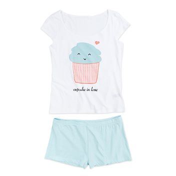Pijama corto con estampado de cupcake en algodón. 19,95 €