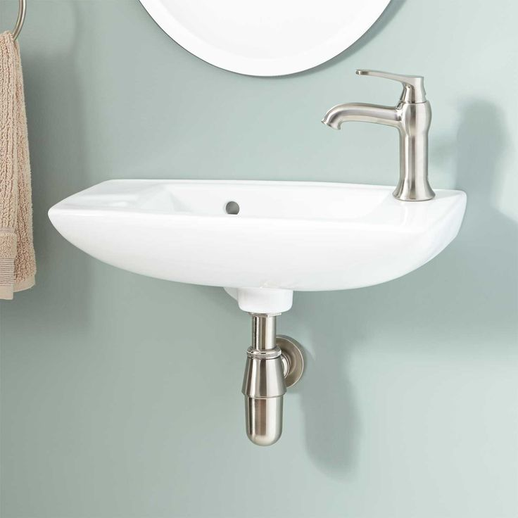 """$125 Belvidere Wall-Mount Bathroom SinkOverall dimensions: 20"""" L x 9-1/4"""" W (front to back) x 6"""" H (± 1/2"""")."""