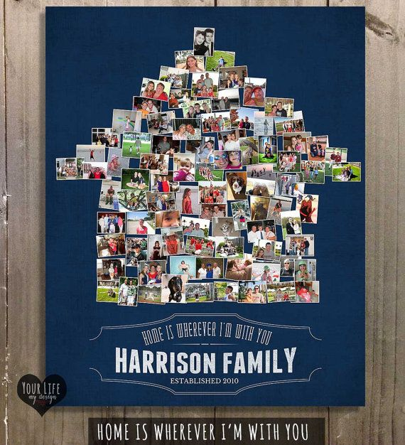 FAMILY SIGN, Home Is Wherever I'm With You, Home Sweet Home, Home is Where your Heart Is, Family Established Sign, Personalized Photo Collage