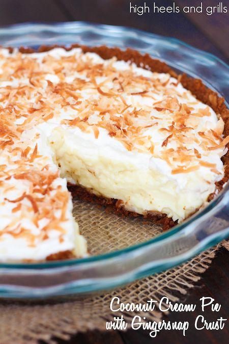 Coconut Cream Pie with Gingersnap Crust. #christmas  #dessert #easy http://www.highheelsandgrills.com/2014/11/coconut-cream-pie-with-gingersnap-crust.html