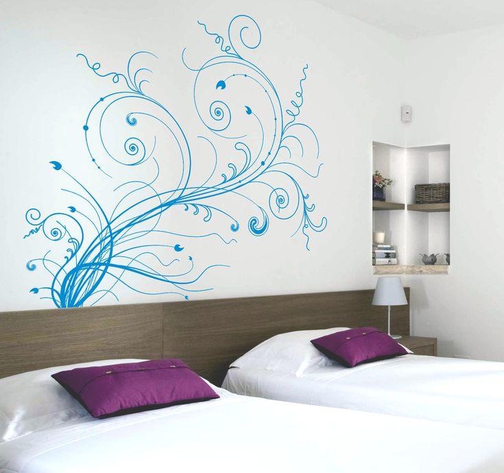 Vinilo decorativo cabecero de cama motivo floral 4.