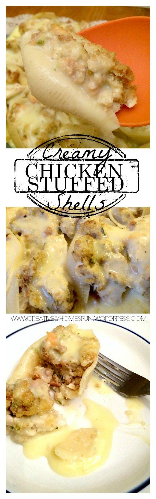 Stuffed chicken shells - Make dairy free by making gravy from almond milk, chicken broth and corn starch