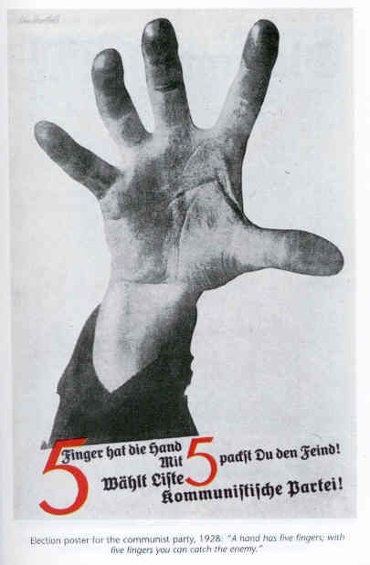 1928 - 5 Fingers (Election Poster for the Communist Party, 1928 by John Heartfield.