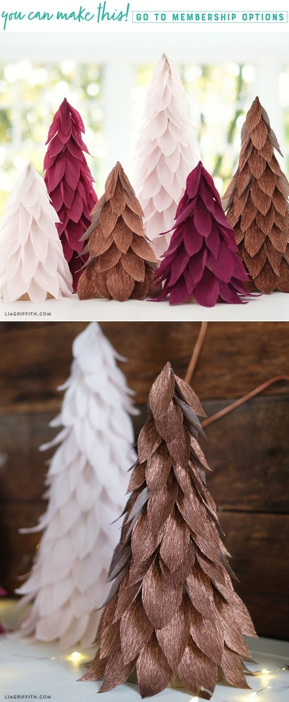Extra Fine Crepe Paper Christmas Tree Decorations - Lia Griffith - www.liagriffith.com #diyinspiration #diyholiday #diyholidays #diychristmas #crepepaperrevival #homefortheholidays #diyhomedecor #madewithlia