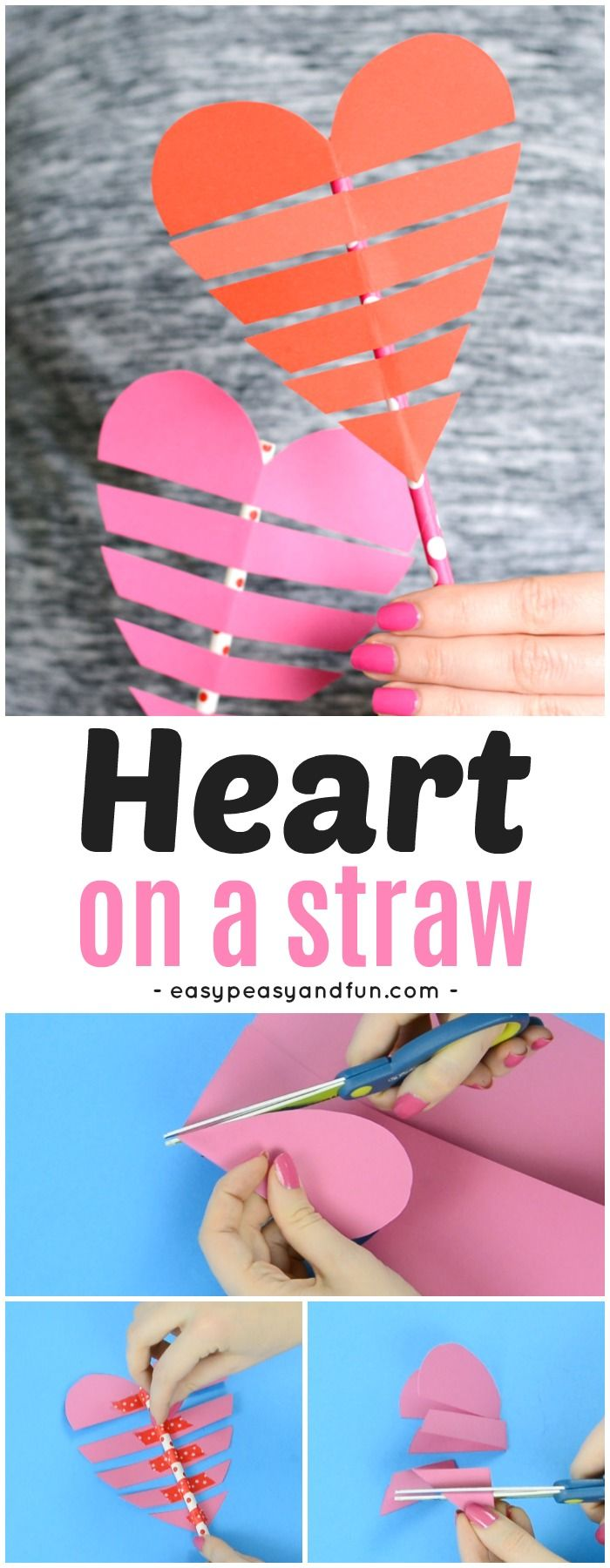 Heart On a Paper Straw Valentine's day Craft for Kids