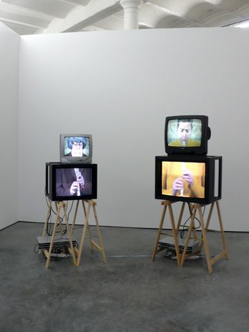 """video installation Could be interesting to show """"the making of"""" on these guys. Have ipads for trailers but have a making of on this. :) Esp with the blue titling it could look quite funk."""