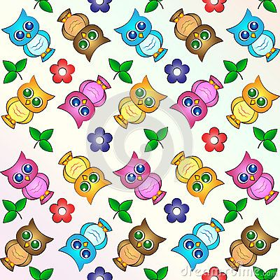 Vector Illustration Pattern Background Wallpaper with cute Owls and Flowers.