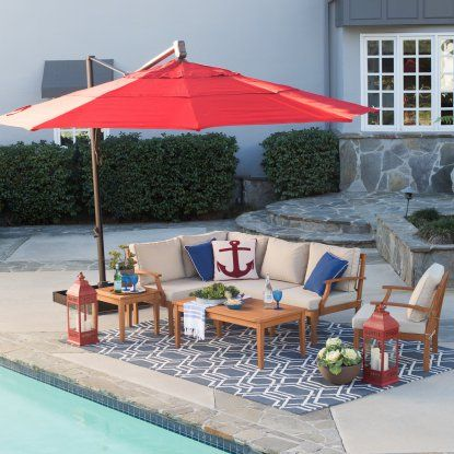 Belham Living 13-ft. Rotating Offset Umbrella with Tilt and Base - Patio Umbrellas at Hayneedle