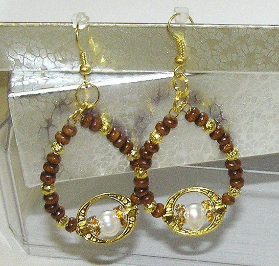ART wood FRESH WATER pear earrings dangle wholesale