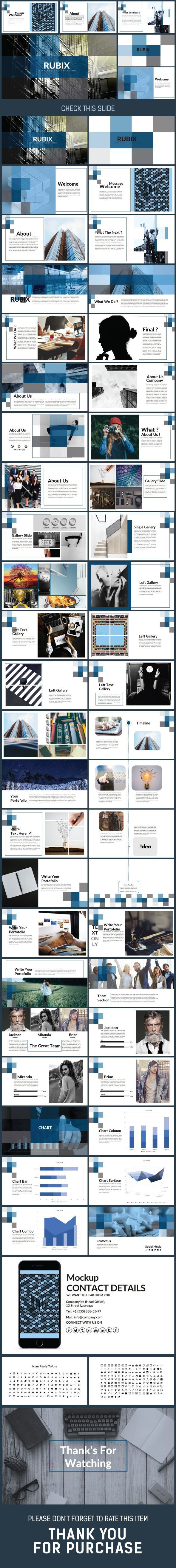 Business infographic : RUBIX Presentation Power Point Template Creative PowerPoint Templates