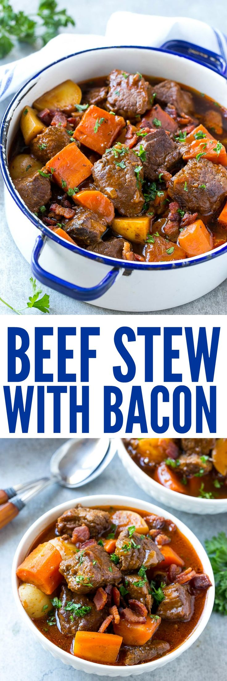 Beef Stew with Bacon is full of tender meat, colorful veggies and plenty of smoky bacon. A one pot meal that's perfect for cold weather!