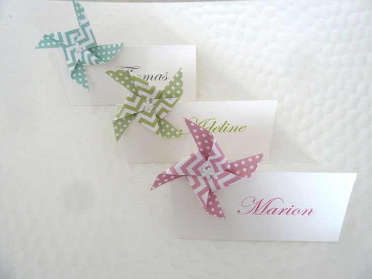Marque place moulin à vent en origami à motif pois chevron vert menthe pour décoration de table  mariage - baptême