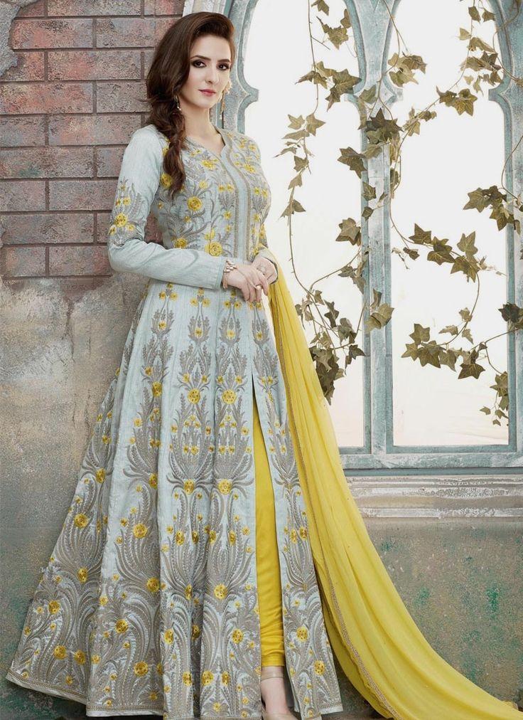 Buy designer salwar kameez online. Shop wide range of salwar kameez. Shop this art silk grey and yellow floor length anarkali suit.