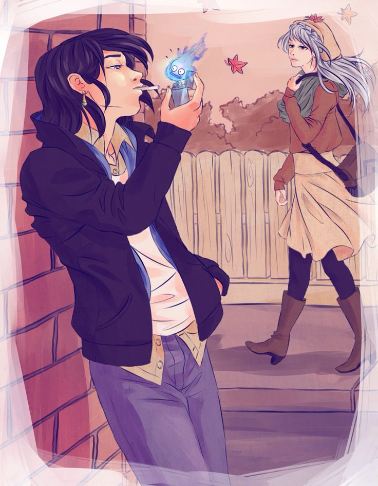 Howl and sophşe with normal clothes
