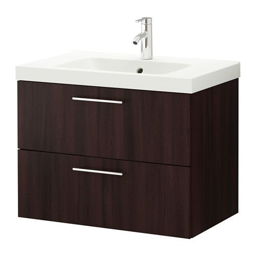 GODMORGON/ODENSVIK Sink cabinet with 2 drawers, black-brown black-brown 31 1/2x19 1/4x25 1/4