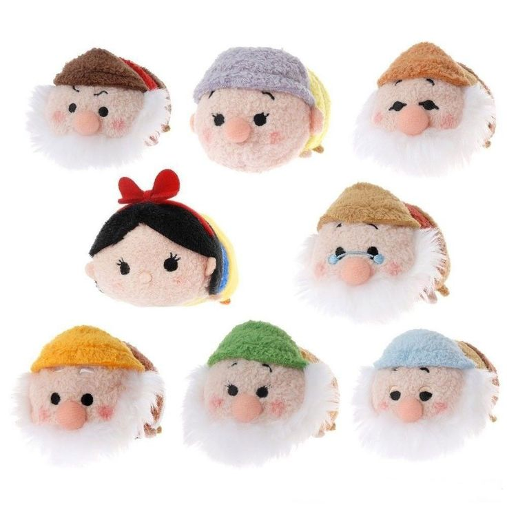 "NEW Disney Store Tsum Snow White & the 7 Seven Dwarves Mini Plush 3.5"" COMPLETE SET"
