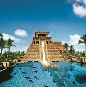 Atlantis waterslide goes through shark tank.  Aaron and I did this on Paradise Island in the Bahamas