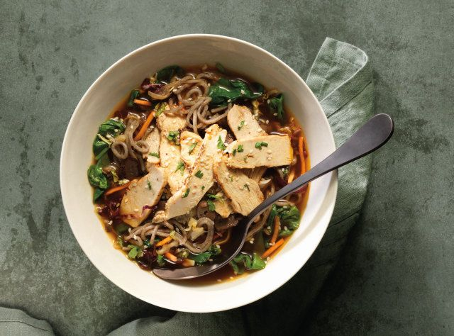 Panera Bread Soba Noodle Bowl with Chicken | Chicken raised without antibiotics, soba buckwheat noodles, fresh spinach, napa cabbage blend, roasted mushroom and onion blend, sesame seeds, and cilantro in umami soy-miso broth.