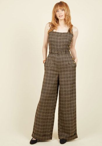Reminisce and Tell Jumpsuit - Brown, Black, White, Multi, Buttons, Work, Casual…