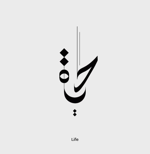 """Hayat (Life) Calligraphy in Arabic """"حياة"""" """"Hayaat [Life, the state of being alive]"""""""