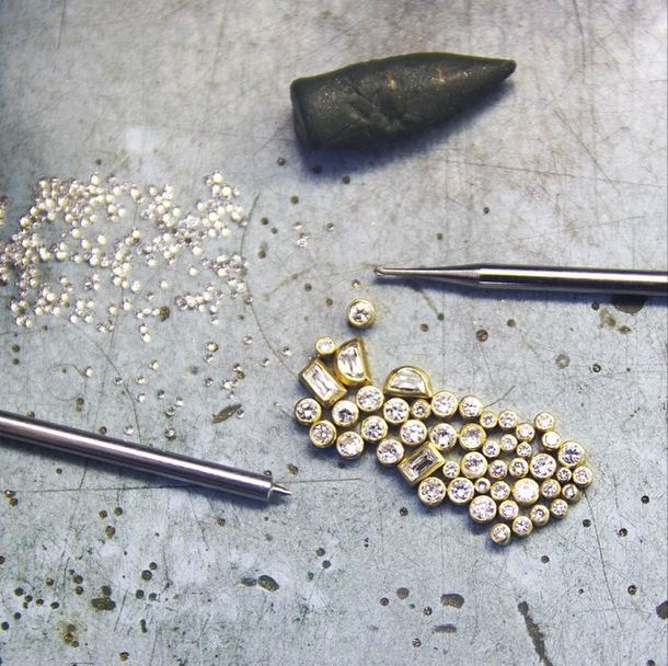 Loose bezel set diamonds, stay tuned! - - - - - #jewelry #jewels #gems #gold #yellowgold #goldjewelry #goldengift #diamonds #loosediamonds #giftideas #gift #sparkle #shine #gemstone #studio #glamour #chic #style #makers #process #shoplocal #shop #austin #texas #love #beauty #layerup #ringstack