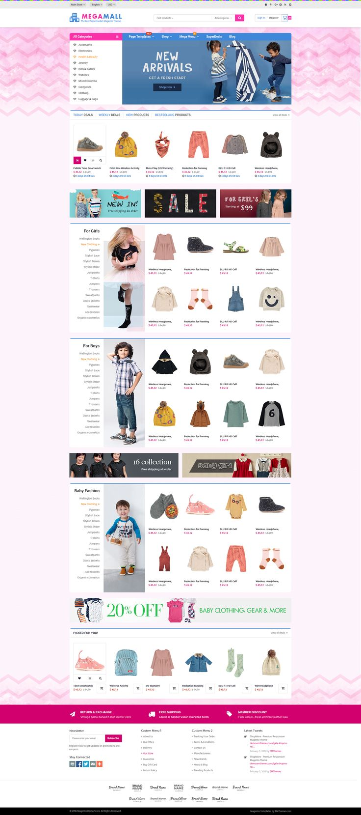 Fashion Mega Mall is a Magento Theme designed for fashion store, fashion shopping mall selling clothes, apparel, t-shirt for men, women and kids. This design is one of sample layout in the Magento theme package MegaMall which is designed and developed by …