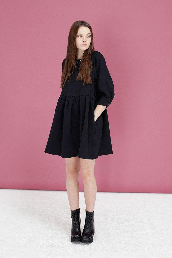 The White Pepper Button-Cuff Angel Dress Black