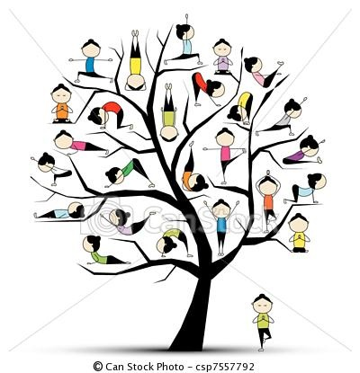 Vector - Yoga practice, tree concept for your design - stock illustration, royalty free illustrations, stock clip art icon, stock clipart icons, logo, line art, EPS picture, pictures, graphic, graphics, drawing, drawings, vector image, artwork, EPS vector art