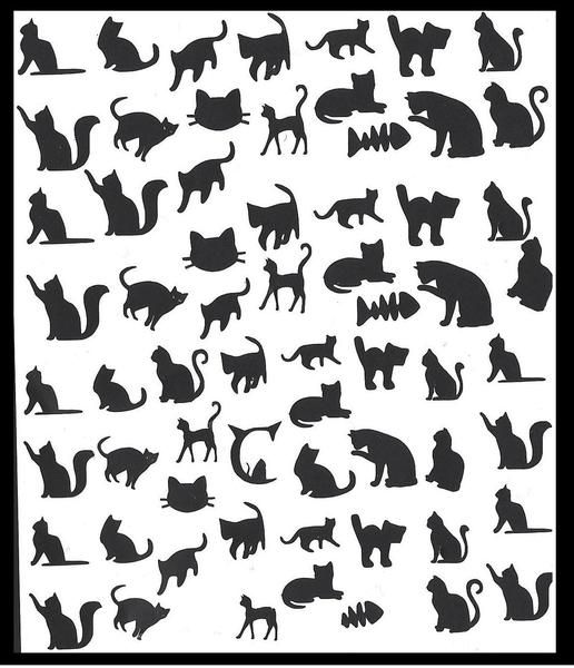 Cat ( Black ) Nail Stickers