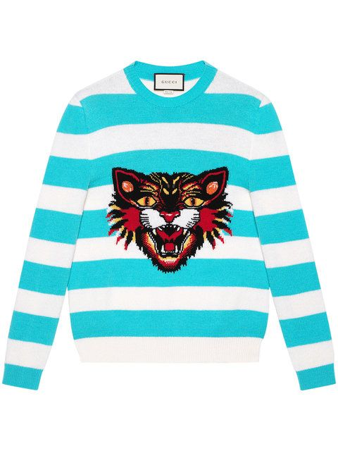 22a6380043c Gucci Angry Cat Striped Jumper  1