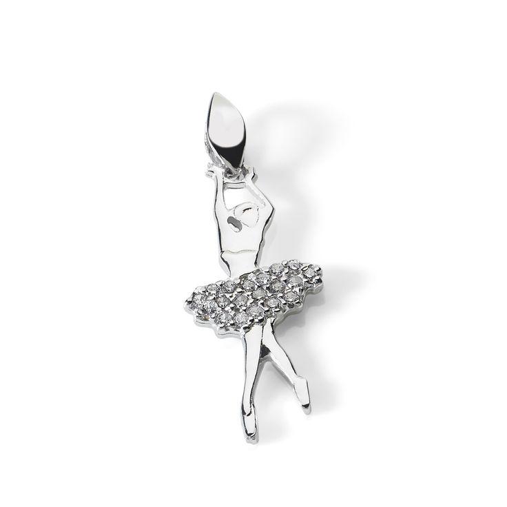 Ciondolo a fotma di ballerina di danza classica con tutù, in oro bianco e zirconi by Ambrosia gioielli  #ballerina #tutù #ciondoli #charms