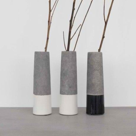 Cox & Cox Dipped Concrete Vase - Trouva