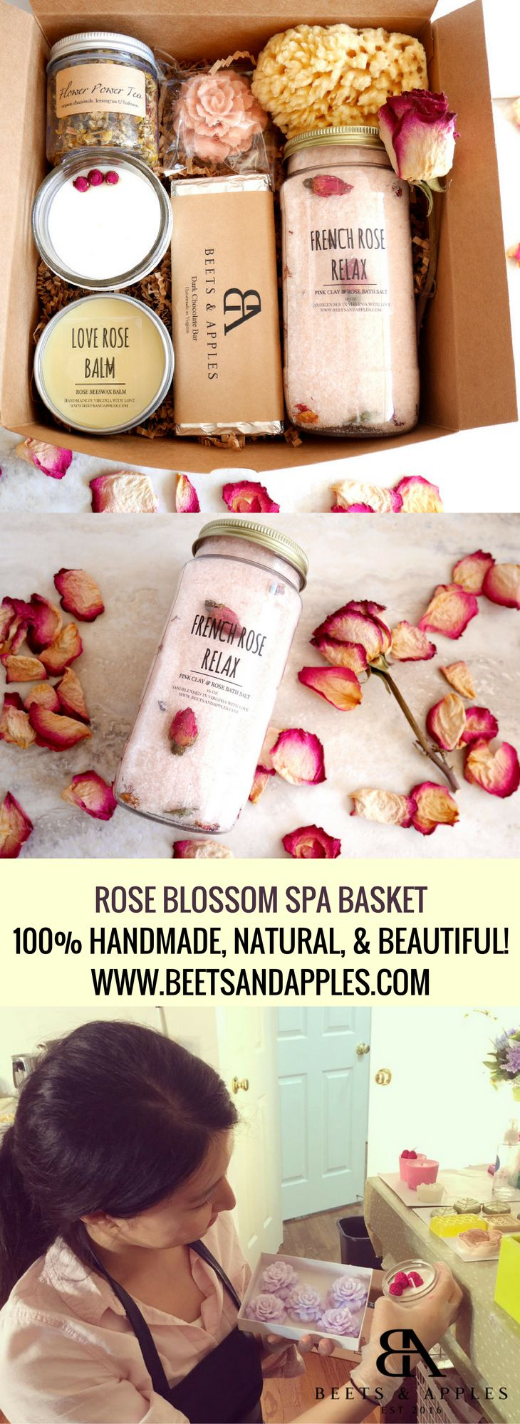 Beets & Apples's Rose Blossom is one of a kind gift box to delight your loved ones in the sweetest way! Perfect gift to congrats birthday, express gratitude and celebrate new accomplishment, it will bring much needed deep relaxation to your recipient. Gifts are  designed and handmade in a small-batch in our studio! #spa spa gifts basket #spa-gift-basket #spa-gifts #bridesmaid-gifts #bridesmaid-spa-gift #bridesmaid-gift-ideas #bridesmaid-proposal-gifts #spa-basket #get-well-gifts #giftbox