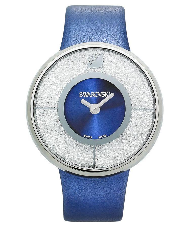 Swarovski Watch, Women's Swiss Crystalline Navy Calfskin Leather Strap 40mm