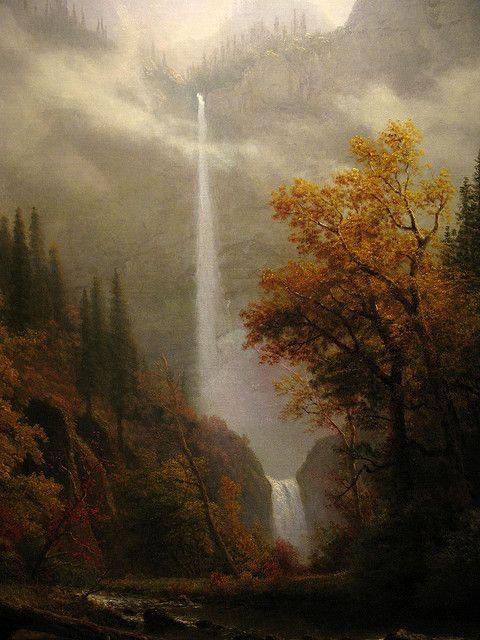 Multnomah Falls by Albert Bierstadt  One of my favorite paintings at Gilcrease Museum.