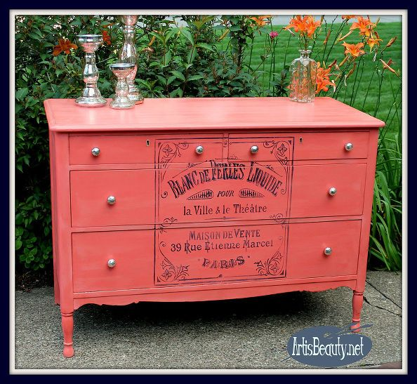 Coral Painted Dresser With French Graphic
